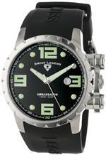 スイスレジェンド 時計 Swiss Legend Mens 30021-01 Ambassador Black Dial Black Silicone Watch