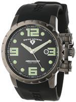 スイスレジェンド 時計 Swiss Legend Mens 30021-GM-01 Ambassador Black Dial Black Silicone Watch