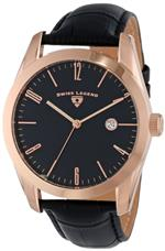 スイスレジェンド 時計 Swiss Legend Mens 22044-RG-01 Pennisula Black Dial Black Leather Band Watch