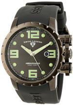 スイスレジェンド 時計 Swiss Legend Mens 30021-GM-014 Ambassador Charcoal Dial Grey Silicone Watch
