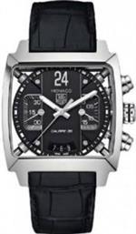 タグ ホイヤー 時計 Tag Heuer Monaco Chronograph Black Dial Black Leather Mens Watch CAL5113FC6329