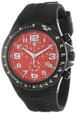 スイスレジェンド 時計 Swiss Legend Mens 30041-BB-05 Eograph Chronograph Red Grid Dial Black Silicone
