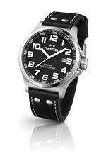 ティーダブルスティール 時計 TW Steel Pilot Black Dial Stainless Steel Black Leather Mens Watch TW409