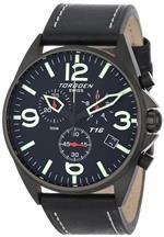 トーゲン 時計 Torgoen Swiss Mens T16101 Aviation Chronograph Black Dial Leather Strap Watch