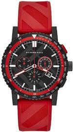 バーバリー 時計 Burberry The City Chronograph Black Dial Red Rubber Mens Watch BU9805