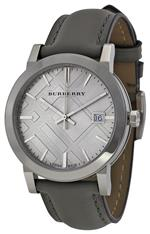 バーバリー 時計 Burberry Light Grey Dial Grey Leather Ladies Watch BU9036