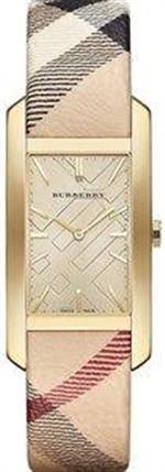 バーバリー 時計 Burberry Champagne Dial Haymarket Check Fabric Ladies Watch BU9407
