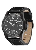 アイス 時計 Police Mens PL-12591JSUB/02 Lancer Black Dial Black Leather Watch
