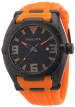 アイス 時計 Police Mens PL-13093JSB/02A Paptor Black IP O range Rubber Date Watch