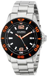 ハウレックスイタリア 時計 Haurex Italy Mens 7A500UON Factor Black dial watch.