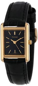 パルサー 時計 Pulsar Womens PTC384 Gold-Tone Black Leather Strap Watch