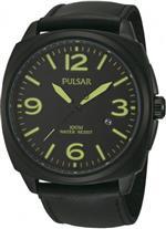パルサー 時計 Pulsar Quartz PS9199 Black Dial Black Leather Band Mens Easy Reader Watch