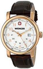 ウェンガー 時計 Wenger 01.1041.109 Mens Urban Classic PVD Rose Gold Brown Strap