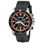 ウェンガー 時計 Wenger Sea Force Chrono Black amp Orange Dial Black Silicone Strap 0643.104