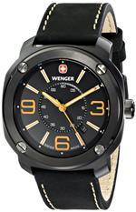 ウェンガー 時計 Wenger Mens 01.1051.106 Escort Analog Display Swiss Quartz Black Watch