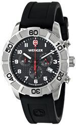 ウェンガー 時計 Wenger Mens 01.0853.101 Roadster Chrono Analog Display Swiss Quartz Black Watch