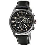 ウェンガー 時計 Wenger TerraGraph Chrono Black dial Brown Numbers Black leather Strap 0543.104
