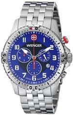 <img class='new_mark_img1' src='https://img.shop-pro.jp/img/new/icons23.gif' style='border:none;display:inline;margin:0px;padding:0px;width:auto;' />ウェンガー 時計 Wenger Mens 77060 Squadron Chrono Analog Display Swiss Quartz Silver Watch