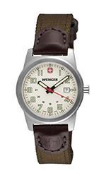ウェンガー 時計 Wenger Classic Field Small Swiss Watch Ivory Dial Brown/Olive Nylon