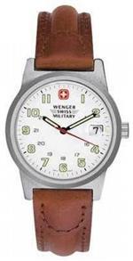 ウェンガー 時計 Wenger Classic Field Watch Mens White Dial w/ Brown Leather Strap 72800