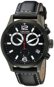 [ゴラナ スイス]Golana Swiss 腕時計 Aero Stainless Steel Leather Chronograph Watch AE240-1 メンズ [並行輸入品]