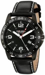 [ゴラナ スイス]Golana Swiss 腕時計 Aero Steel Leather Two Time Zone Watch AE310-1 メンズ [並行輸入品]
