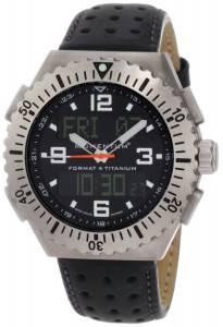 Momentum Men's 1M-SP24B2B Format 4 Ana-Digi Black Perforated Leather Watch