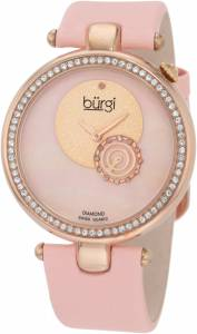 [バージ]Burgi 腕時計 Round Dazzling Diamond Watch with Pink Satin Band BU42PK レディース [並行輸入品]