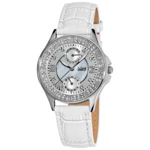 [バージ]Burgi  Diamond Embellished SilverTone Watch with White CrocTextured Leather Band BU44WT