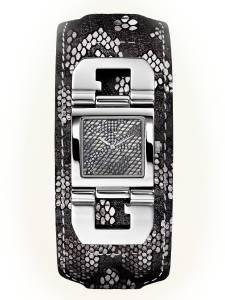 [ゲス]GUESS  Crystal Accented Dial Stainless Steel Case Python Leather Strap Watch U0054L1
