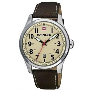 [ウェンガー]Wenger 腕時計 Terragraph Watch, Sand Dial Brown Leather Strap 0541.106 [並行輸入品]