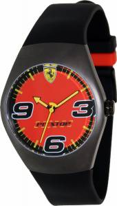 [フェラーリ]Ferrari 腕時計 Black Rubber Analog Quartz Watch with Red Dial FW05 メンズ [並行輸入品]