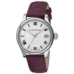 [ウェンガー]Wenger 腕時計 Terragraph Watch, Silver Dial Aubergine Leather Strap 521.103 Wen-3567 [並行輸入品]