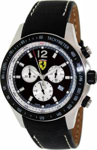 [フェラーリ]Ferrari Scuderia Chronograph Black calfskin band Swiss Made watch FE-07-ACIP-CP-BK