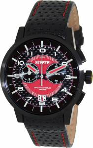 [フェラーリ]Ferrari  Ferrrari Red Dial Chronograph Black Leather Swiss Watch FE-11-IPB-CP-RD