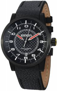 [フェラーリ]Ferrari  Carbon Fiber Dial Black Leather Automatic Swiss Made Watch FE12IPBCPBK