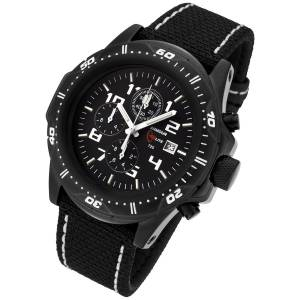 Armourlite Professional Series Black Chronograph Watch Black White Kevla Band