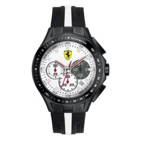 [フェラーリ]Ferrari SF 103 Textures of Racing White Dial Black and White Silicone Watch 830024