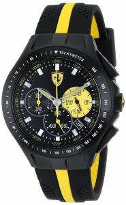 [フェラーリ]Ferrari Race Day Stainless Steel Watch with YellowStriped Black Silicone 0830025