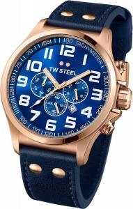 [ティーダブルスティール]TW Steel Pilot Blue Dial Chronograph Rose Gold PVD Steel TW406