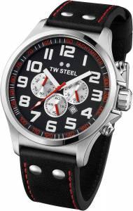 [ティーダブルスティール]TW Steel 腕時計 Pilot Chronograph Stainless Steel Black Leather Watch TW415 メンズ [並行輸入品]