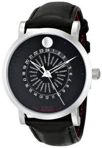 [モバード]Movado Red Label Stainless Steel Case Black Calfskin Leather Black Dial Watch 0606697