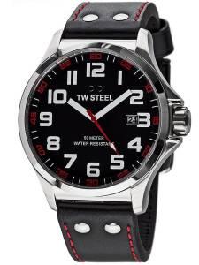 [ティーダブルスティール]TW Steel 腕時計 TW411 Pilot Black Leather Strap with Red Stitches 48 mm TW-411 [並行輸入品]