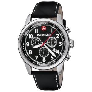 [ウェンガー]Wenger 腕時計 Terragraph Chrono Leather - Black watch 0543101 メンズ [並行輸入品]