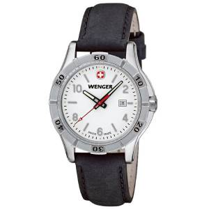 [ウェンガー]Wenger 腕時計 Platoon White Dial, Black Leather Strap 0921.102 レディース [並行輸入品]