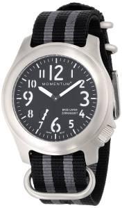 [モーメンタム]Momentum Base Layer Stainless Steel Watch with Black Dial and Striped 1M-SP76B7S
