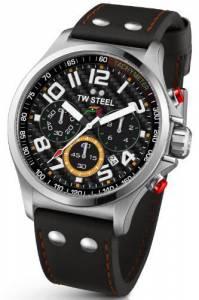 [ティーダブルスティール]TW Steel Chronograph Black Dial Black Leather Watch TW433 TW-433