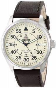 [オリエント]Orient Flight ChampagneDial Stainless Steel Watch with Black Leather FER2A005Y0