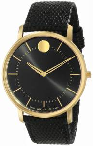 [モバード]Movado  Movado TC GoldPlated Stainless Steel Watch with Black Leather Band 0606847