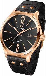 [ティーダブルスティール]TW Steel 腕時計 Slim Line Black Dial Black Leather Watch TW1303 メンズ [並行輸入品]